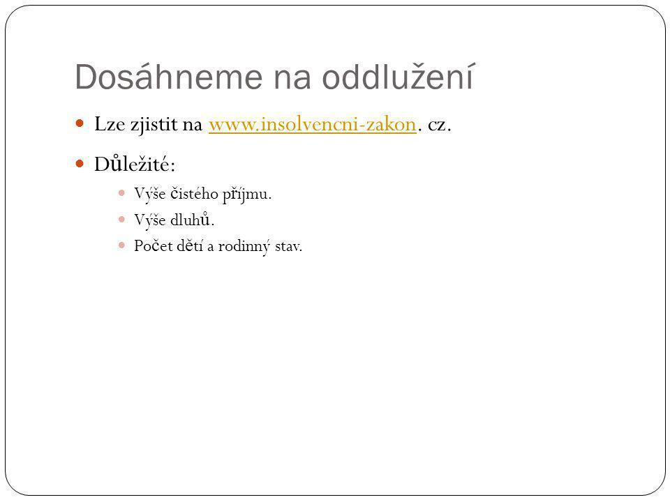 Dosáhneme na oddlužení Lze zjistit na www.insolvencni-zakon. cz.www.insolvencni-zakon D ů ležité: Výše č istého p ř íjmu. Výše dluh ů. Po č et d ě tí