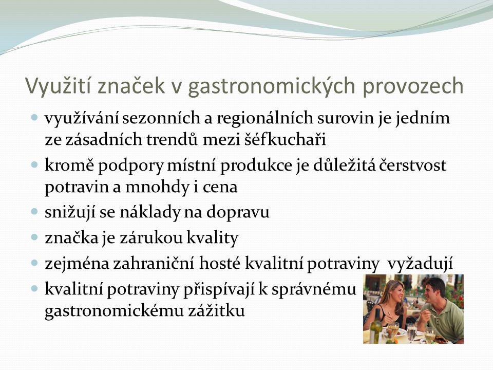 Využití značek v gastronomických provozech využívání sezonních a regionálních surovin je jedním ze zásadních trendů mezi šéfkuchaři kromě podpory místní produkce je důležitá čerstvost potravin a mnohdy i cena snižují se náklady na dopravu značka je zárukou kvality zejména zahraniční hosté kvalitní potraviny vyžadují kvalitní potraviny přispívají k správnému gastronomickému zážitku