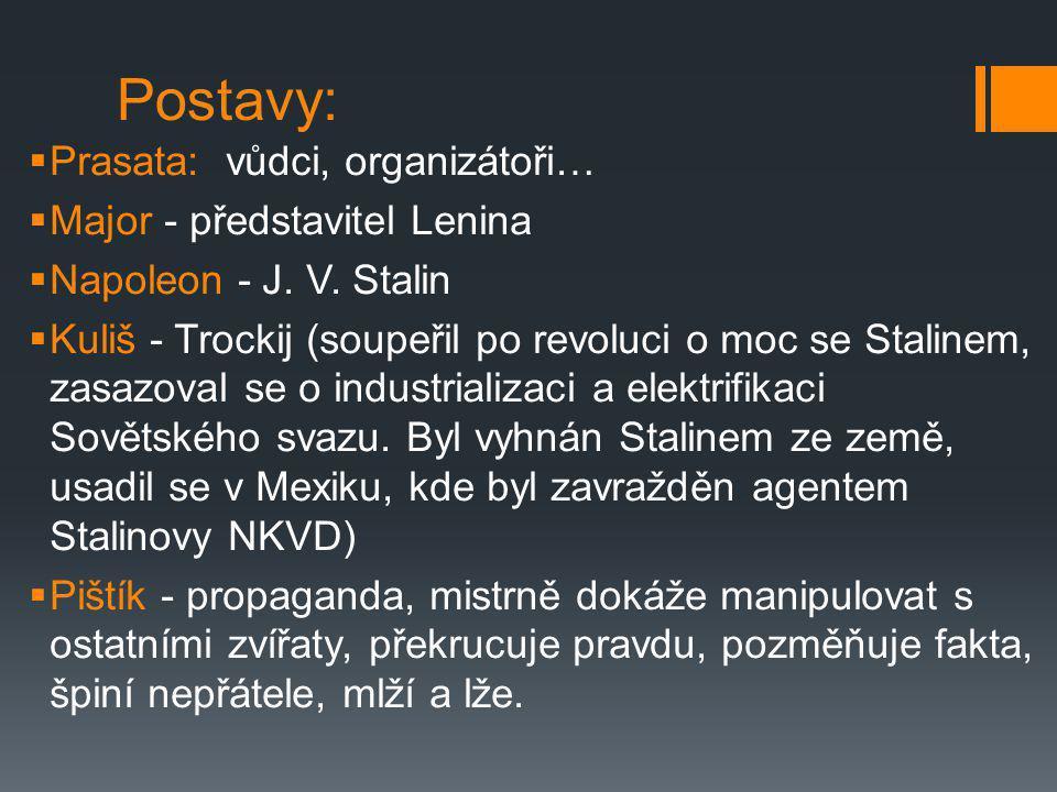 Postavy:  Prasata: vůdci, organizátoři…  Major - představitel Lenina  Napoleon - J. V. Stalin  Kuliš - Trockij (soupeřil po revoluci o moc se Stal