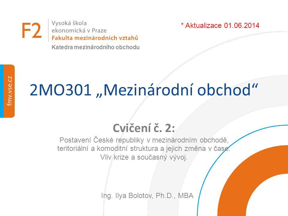 """2MO301 """"Mezinárodní obchod"""" Cvičení č. 2: Postavení České republiky v mezinárodním obchodě, teritoriální a komoditní struktura a jejich změna v čase."""