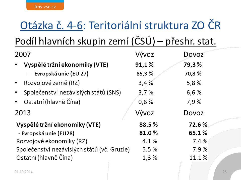 Otázka č. 4-6: Teritoriální struktura ZO ČR Podíl hlavních skupin zemí (ČSÚ) – přeshr. stat. 2007 VývozDovoz Vyspělé tržní ekonomiky (VTE)91,1 %79,3 %