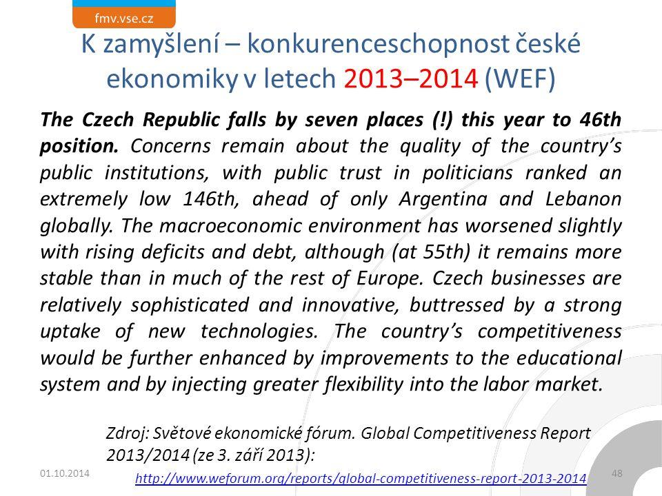 K zamyšlení – konkurenceschopnost české ekonomiky v letech 2013–2014 (WEF) The Czech Republic falls by seven places (!) this year to 46th position.