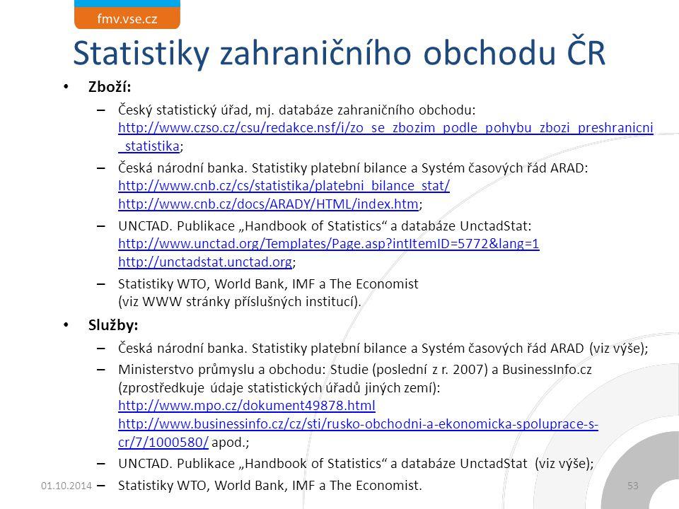 Statistiky zahraničního obchodu ČR Zboží: – Český statistický úřad, mj. databáze zahraničního obchodu: http://www.czso.cz/csu/redakce.nsf/i/zo_se_zboz