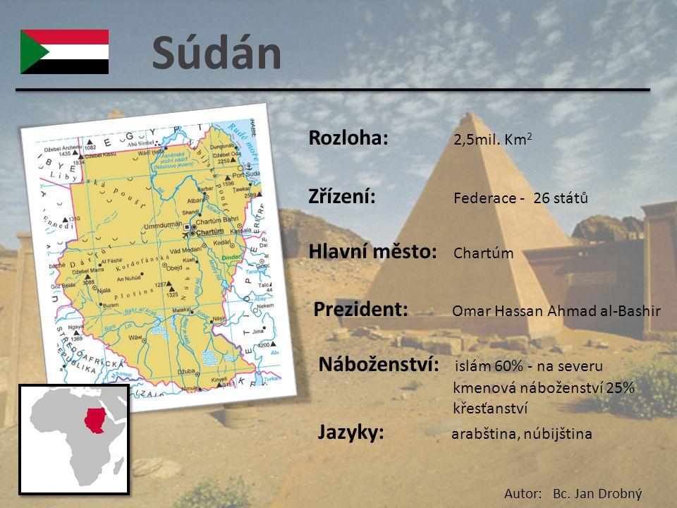 Súdán Rozloha: 2,5mil. Km 2 Zřízení: Federace - 26 států Hlavní město: Chartúm Prezident: Omar Hassan Ahmad al-Bashir Náboženství: islám 60% - na seve