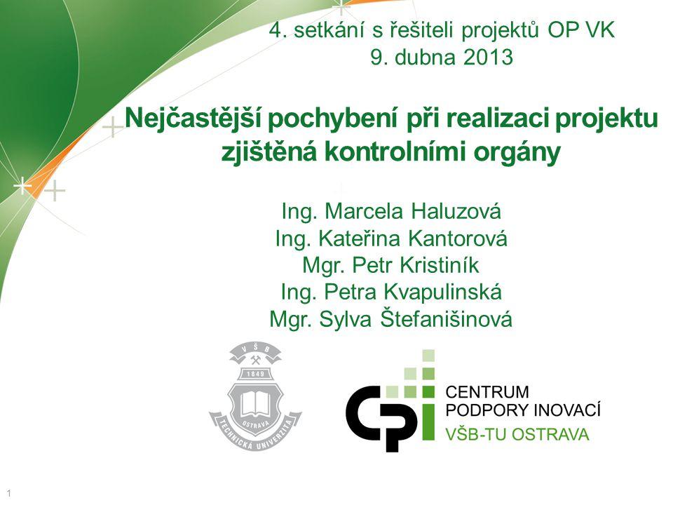Nejčastější pochybení při realizaci projektu zjištěná kontrolními orgány 1 4. setkání s řešiteli projektů OP VK 9. dubna 2013 Ing. Marcela Haluzová In