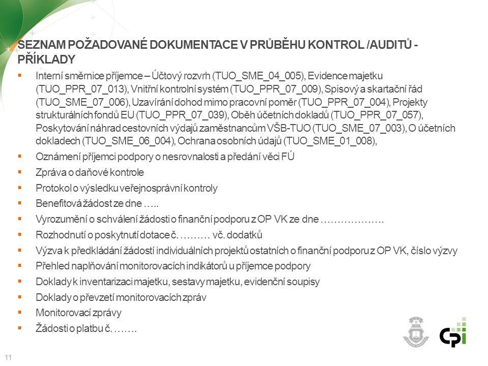 SEZNAM POŽADOVANÉ DOKUMENTACE V PRŮBĚHU KONTROL /AUDITŮ - PŘÍKLADY  Interní směrnice příjemce – Účtový rozvrh (TUO_SME_04_005), Evidence majetku (TUO