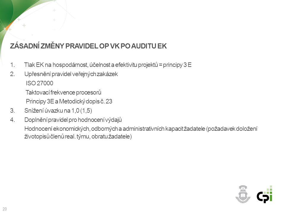 ZÁSADNÍ ZMĚNY PRAVIDEL OP VK PO AUDITU EK 1. Tlak EK na hospodárnost, účelnost a efektivitu projektů = principy 3 E 2. Upřesnění pravidel veřejných za