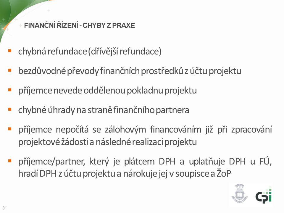 FINANČNÍ ŘÍZENÍ - CHYBY Z PRAXE  chybná refundace (dřívější refundace)  bezdůvodné převody finančních prostředků z účtu projektu  příjemce nevede o