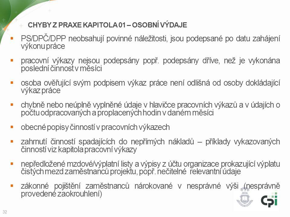 CHYBY Z PRAXE KAPITOLA 01 – OSOBNÍ VÝDAJE  PS/DPČ/DPP neobsahují povinné náležitosti, jsou podepsané po datu zahájení výkonu práce  pracovní výkazy