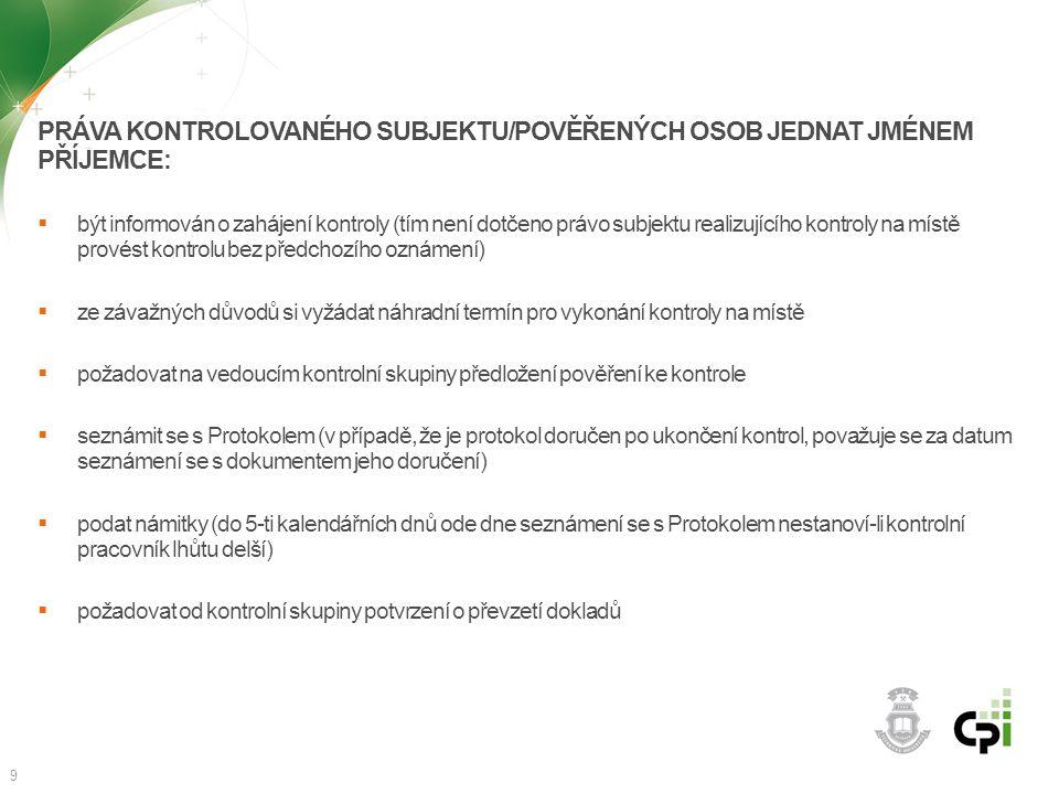 PRÁVA KONTROLOVANÉHO SUBJEKTU/POVĚŘENÝCH OSOB JEDNAT JMÉNEM PŘÍJEMCE:  být informován o zahájení kontroly (tím není dotčeno právo subjektu realizujíc