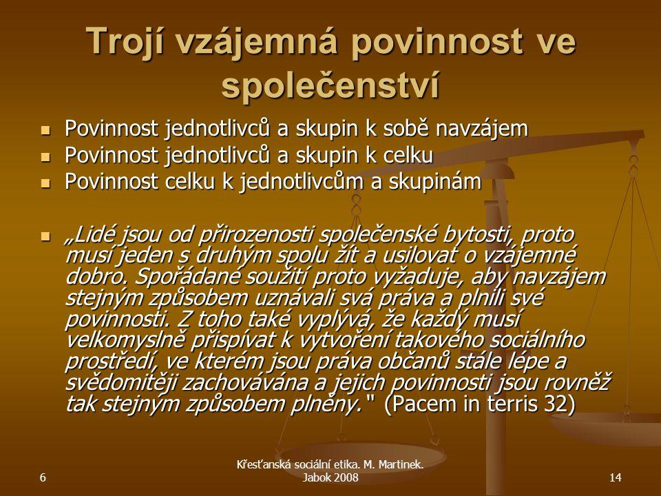 6 Křesťanská sociální etika. M. Martinek. Jabok 200814 Trojí vzájemná povinnost ve společenství Povinnost jednotlivců a skupin k sobě navzájem Povinno
