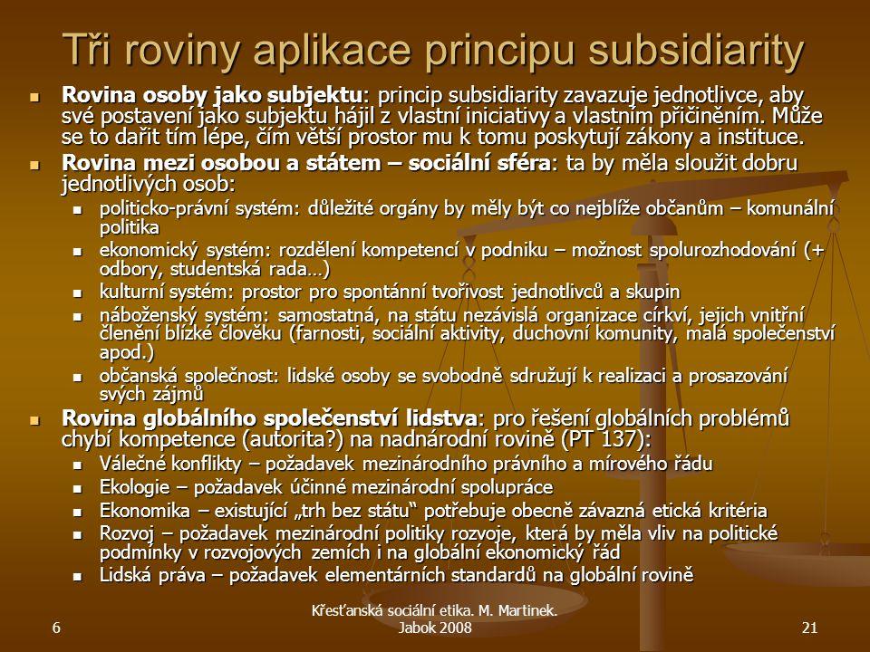 6 Křesťanská sociální etika. M. Martinek. Jabok 200821 Tři roviny aplikace principu subsidiarity Rovina osoby jako subjektu: princip subsidiarity zava