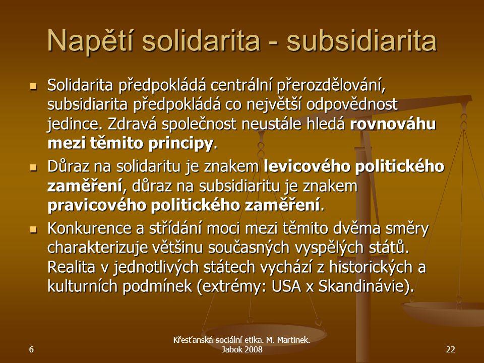 Napětí solidarita - subsidiarita Solidarita předpokládá centrální přerozdělování, subsidiarita předpokládá co největší odpovědnost jedince. Zdravá spo