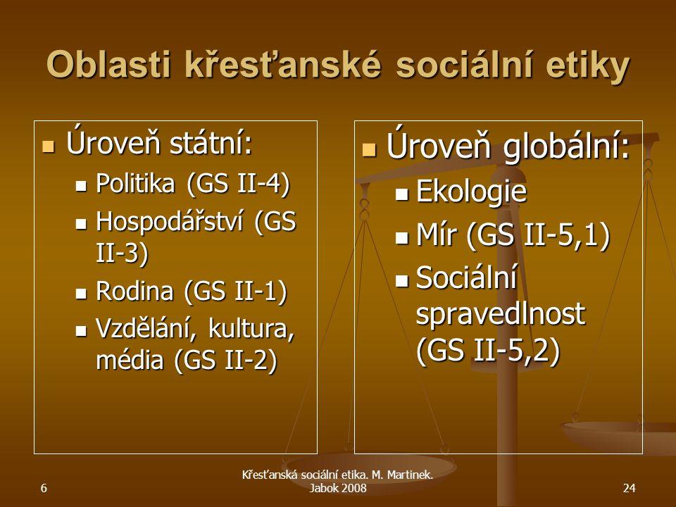 6 Křesťanská sociální etika. M. Martinek. Jabok 200824 Oblasti křesťanské sociální etiky Úroveň státní: Úroveň státní: Politika (GS II-4) Politika (GS