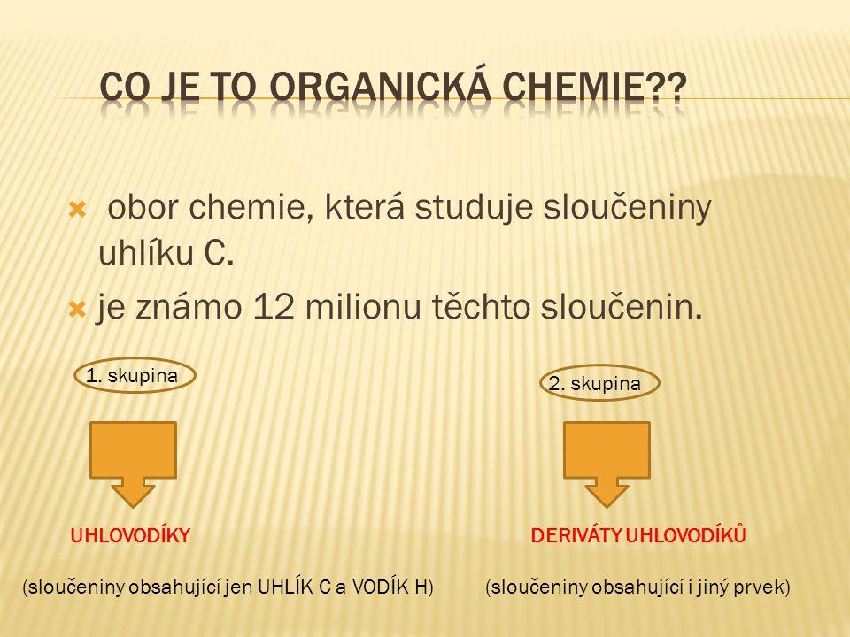 acyklické (alifatické) (přímé nebo rozvětvené řetězce) cyklické (kruhové uzavřené řetězce) nenasycené (násobné vazby) nasycené (jednoduché vazby) ALKANY ALKENY (dvojné vazby) ALKINY (trojné vazby) alicyklické CYKLOALKANY CYKLOALKENY CYKLOALKINY aromatické ( obsahují 1 nebo více benzenových jader) ARENY