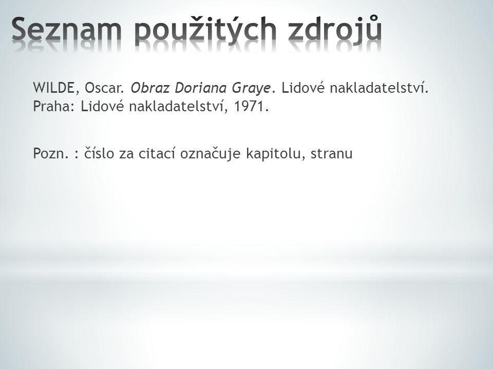 WILDE, Oscar.Obraz Doriana Graye. Lidové nakladatelství.