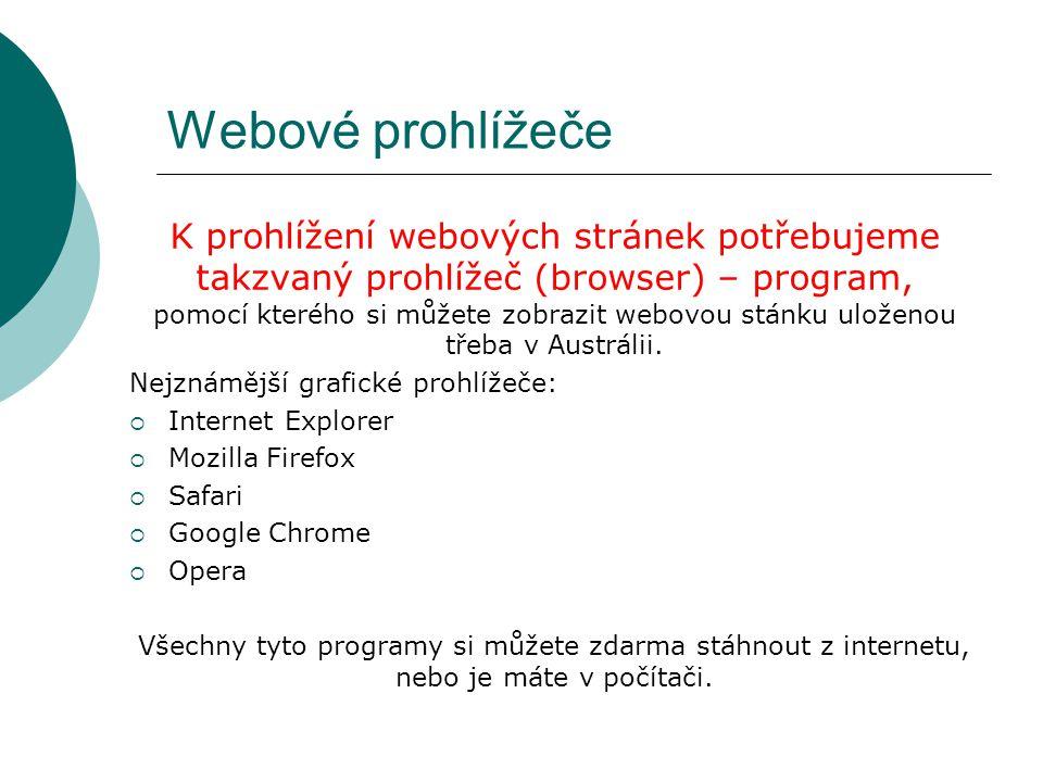 Webové prohlížeče K prohlížení webových stránek potřebujeme takzvaný prohlížeč (browser) – program, pomocí kterého si můžete zobrazit webovou stánku uloženou třeba v Austrálii.