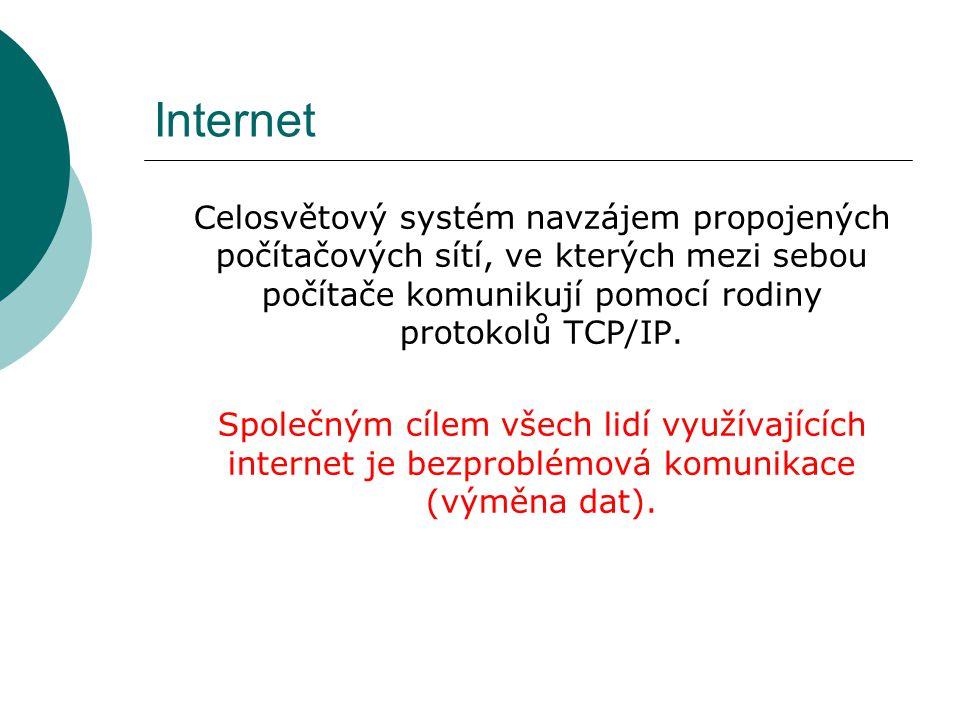 Internet Celosvětový systém navzájem propojených počítačových sítí, ve kterých mezi sebou počítače komunikují pomocí rodiny protokolů TCP/IP.