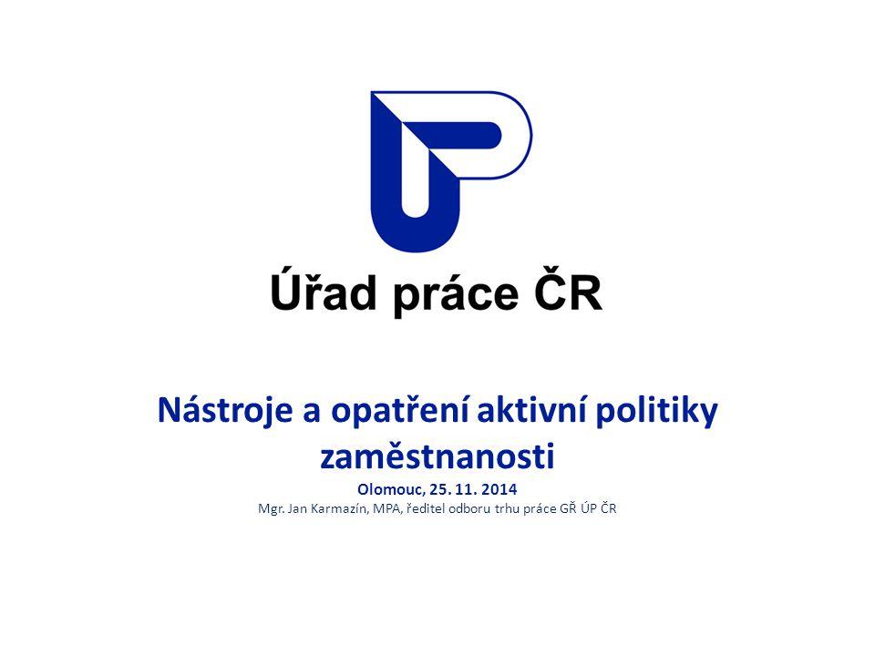 Nástroje a opatření aktivní politiky zaměstnanosti Olomouc, 25. 11. 2014 Mgr. Jan Karmazín, MPA, ředitel odboru trhu práce GŘ ÚP ČR