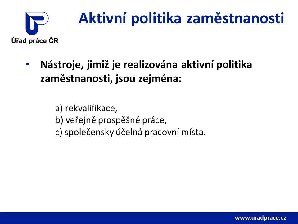 Aktivní politika zaměstnanosti Nástroje, jimiž je realizována aktivní politika zaměstnanosti, jsou zejména: a) rekvalifikace, b) veřejně prospěšné prá