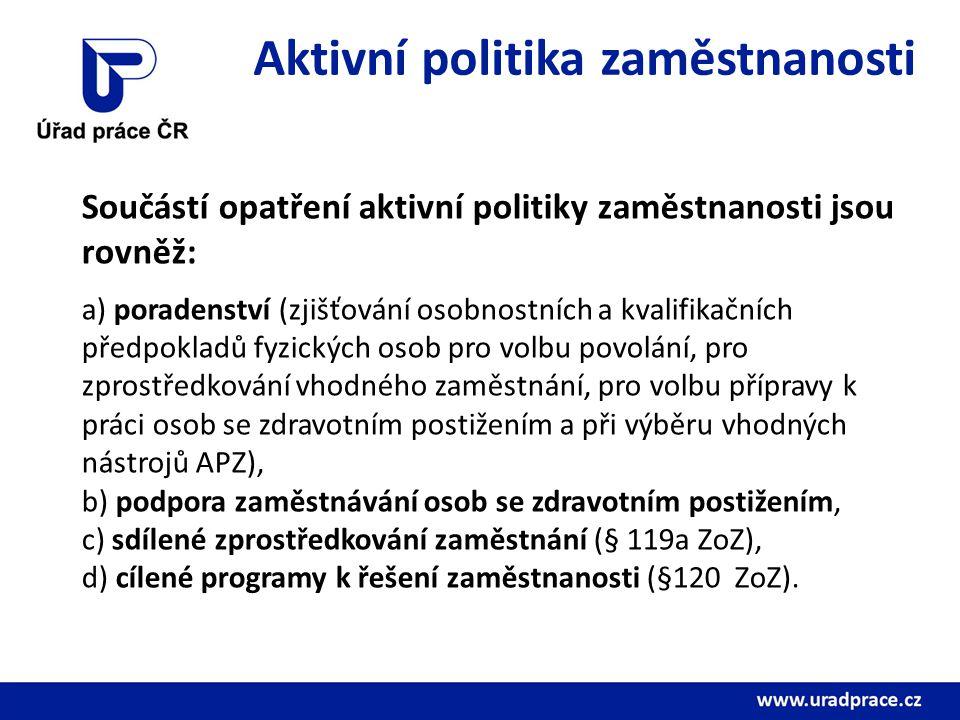 Aktivní politika zaměstnanosti Součástí opatření aktivní politiky zaměstnanosti jsou rovněž: a) poradenství (zjišťování osobnostních a kvalifikačních předpokladů fyzických osob pro volbu povolání, pro zprostředkování vhodného zaměstnání, pro volbu přípravy k práci osob se zdravotním postižením a při výběru vhodných nástrojů APZ), b) podpora zaměstnávání osob se zdravotním postižením, c) sdílené zprostředkování zaměstnání (§ 119a ZoZ), d) cílené programy k řešení zaměstnanosti (§120 ZoZ).