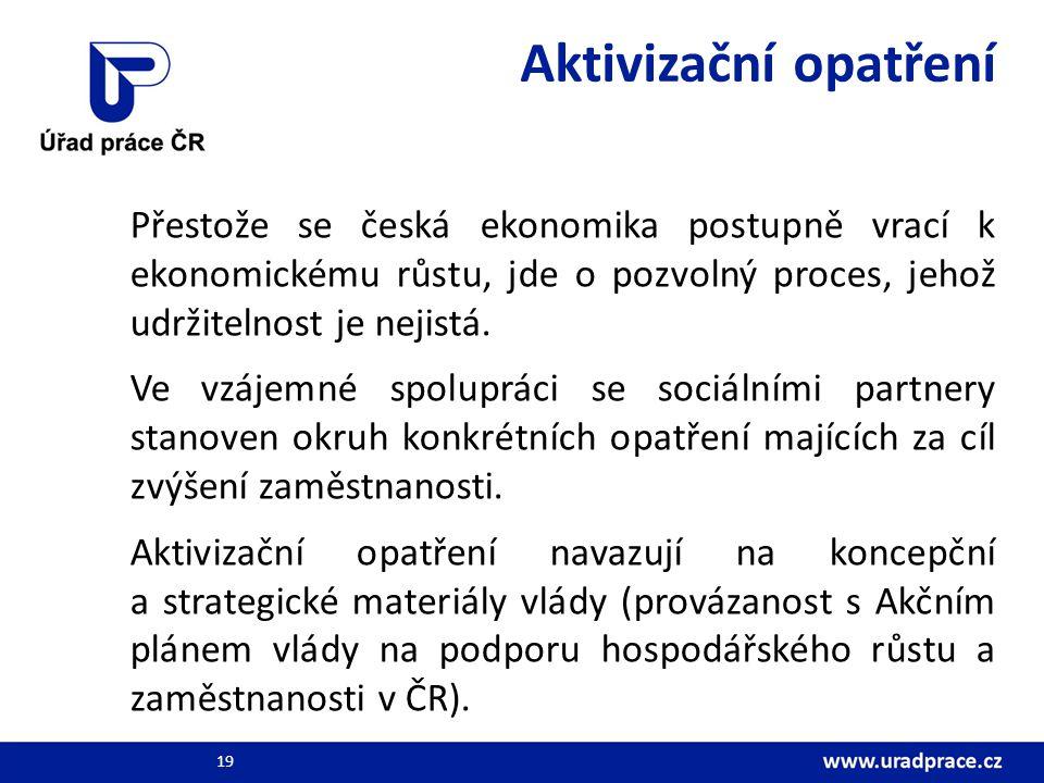 Aktivizační opatření Přestože se česká ekonomika postupně vrací k ekonomickému růstu, jde o pozvolný proces, jehož udržitelnost je nejistá. Ve vzájemn
