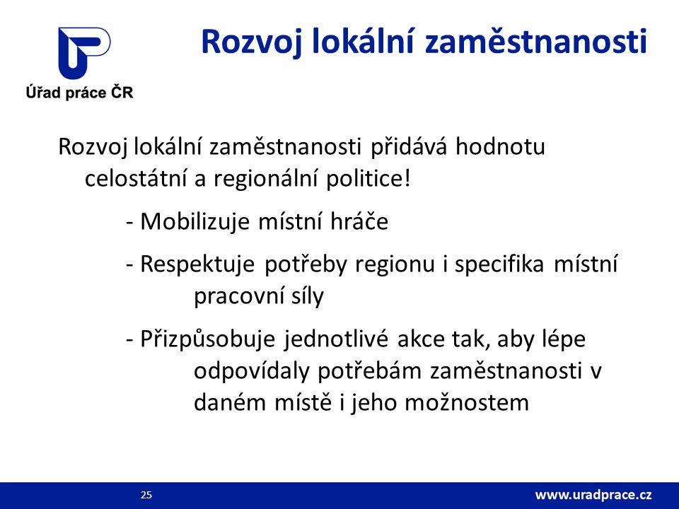 Rozvoj lokální zaměstnanosti Rozvoj lokální zaměstnanosti přidává hodnotu celostátní a regionální politice.
