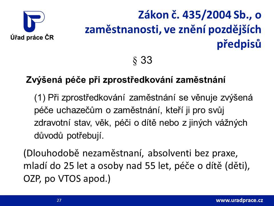 Zákon č. 435/2004 Sb., o zaměstnanosti, ve znění pozdějších předpisů § 33 Zvýšená péče při zprostředkování zaměstnání (1) Při zprostředkování zaměstná