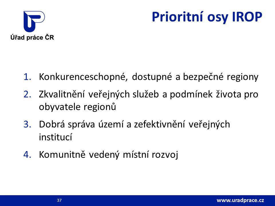 Prioritní osy IROP 1.Konkurenceschopné, dostupné a bezpečné regiony 2.Zkvalitnění veřejných služeb a podmínek života pro obyvatele regionů 3.Dobrá správa území a zefektivnění veřejných institucí 4.Komunitně vedený místní rozvoj 37
