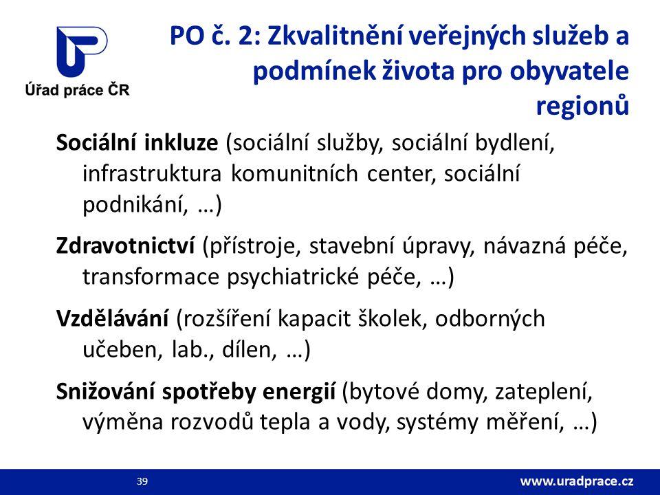 PO č. 2: Zkvalitnění veřejných služeb a podmínek života pro obyvatele regionů Sociální inkluze (sociální služby, sociální bydlení, infrastruktura komu