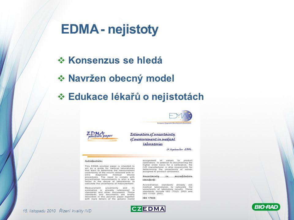 15. listopadu 2010 Řízení kvality IVD EDMA - nejistoty  Konsenzus se hledá  Navržen obecný model  Edukace lékařů o nejistotách