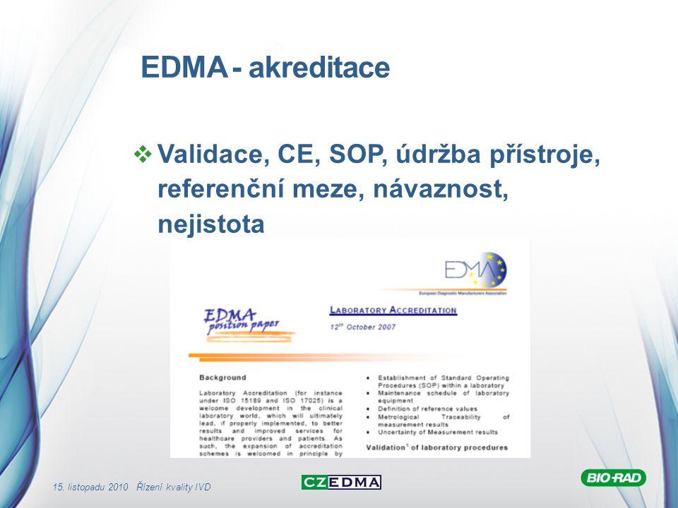 15. listopadu 2010 Řízení kvality IVD EDMA - akreditace  Validace, CE, SOP, údržba přístroje, referenční meze, návaznost, nejistota