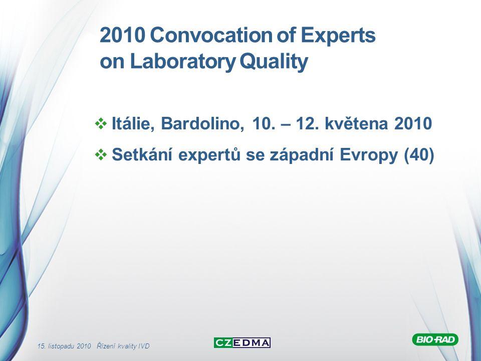 15. listopadu 2010 Řízení kvality IVD 2010 Convocation of Experts on Laboratory Quality  Itálie, Bardolino, 10. – 12. květena 2010  Setkání expertů