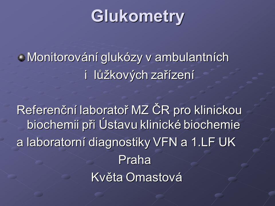 Požadavky - osobní glukometr Jednotlivé balení proužků V případě balení 25ks,50ks zapisovat otevření balení Dostatečně velká kapka krve Kontrola a)firemní kontrolní roztoky b)srovnání s výsledky z laboratoře b)srovnání s výsledky z laboratoře