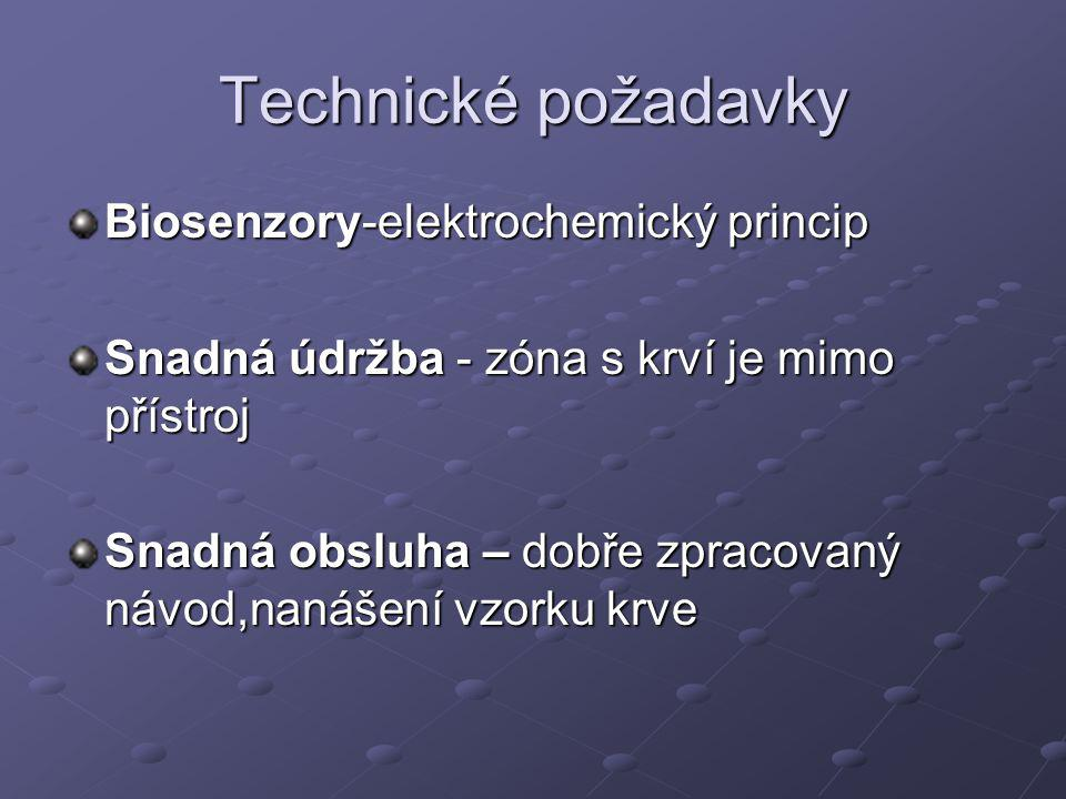 Technické požadavky Biosenzory-elektrochemický princip Snadná údržba - zóna s krví je mimo přístroj Snadná obsluha – dobře zpracovaný návod,nanášení vzorku krve