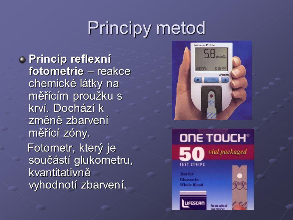 Principy metod Princip reflexní fotometrie – reakce chemické látky na měřícím proužku s krví.