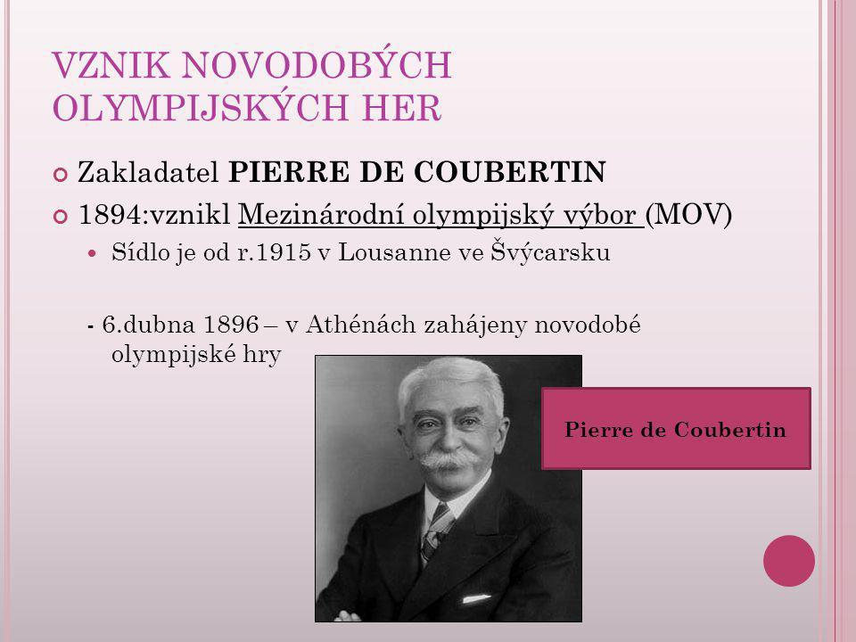 VZNIK NOVODOBÝCH OLYMPIJSKÝCH HER Zakladatel PIERRE DE COUBERTIN 1894:vznikl Mezinárodní olympijský výbor (MOV) Sídlo je od r.1915 v Lousanne ve Švýca