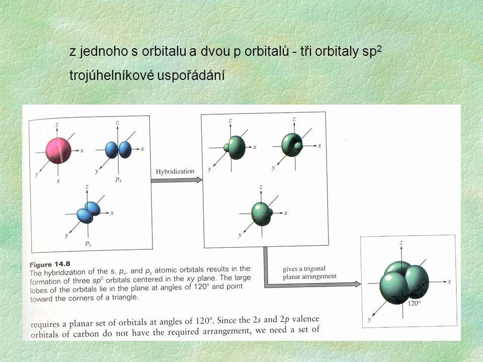 z jednoho s orbitalu a dvou p orbitalů - tři orbitaly sp 2 trojúhelníkové uspořádání