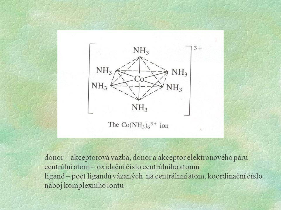 donor – akceptorová vazba, donor a akceptor elektronového páru centrální atom – oxidační číslo centrálního atomu ligand – počt ligandů vázaných na cen