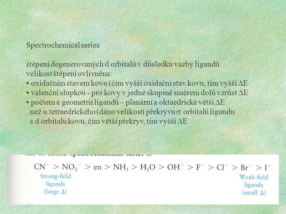 Spectrochemical series štěpení degenerovaných d orbitalů v důsledku vazby ligandů velikost štěpení ovlivněna: oxidačním stavem kovu (čím vyšši oxidačn