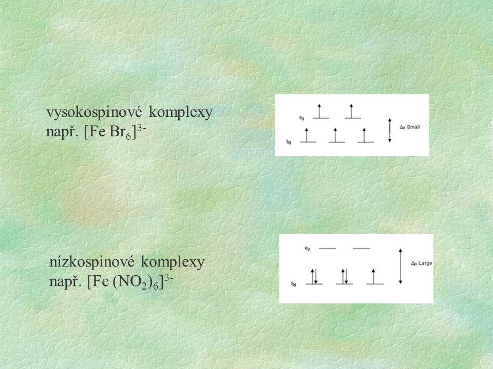 nízkospinové komplexy např. [Fe (NO 2 ) 6 ] 3- vysokospinové komplexy např. [Fe Br 6 ] 3-