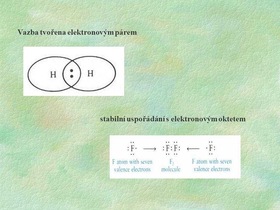 Vazba tvořena elektronovým párem stabilní uspořádání s elektronovým oktetem
