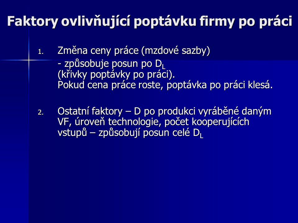 Poptávka po práci: DoKo. trh práce + DoKo. trh finální produkce - LR MRP L1 L CZK/L D L(LR) MFC L = AFC L =w=s L1 w1w1 E1E1 Celkovým efektem poklesu m