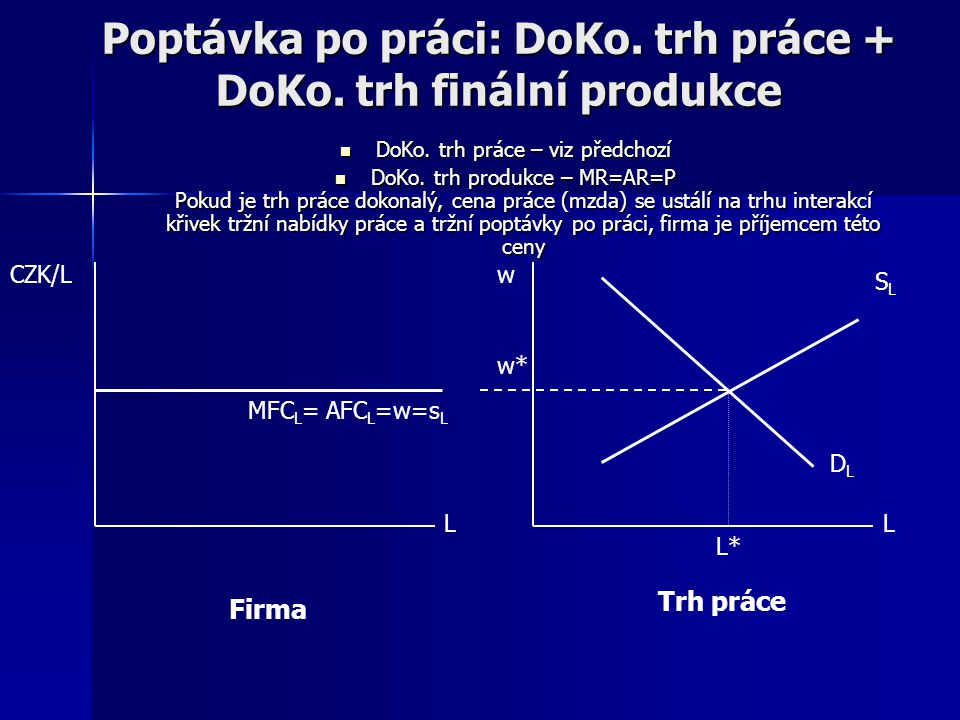 Poptávka po práci na DoKo. trhu práce DOKO. TRH PRÁCE: velký počet firem poptávajících práci cena práce (mzdová sazba) je vůči firmě objektivní – dána