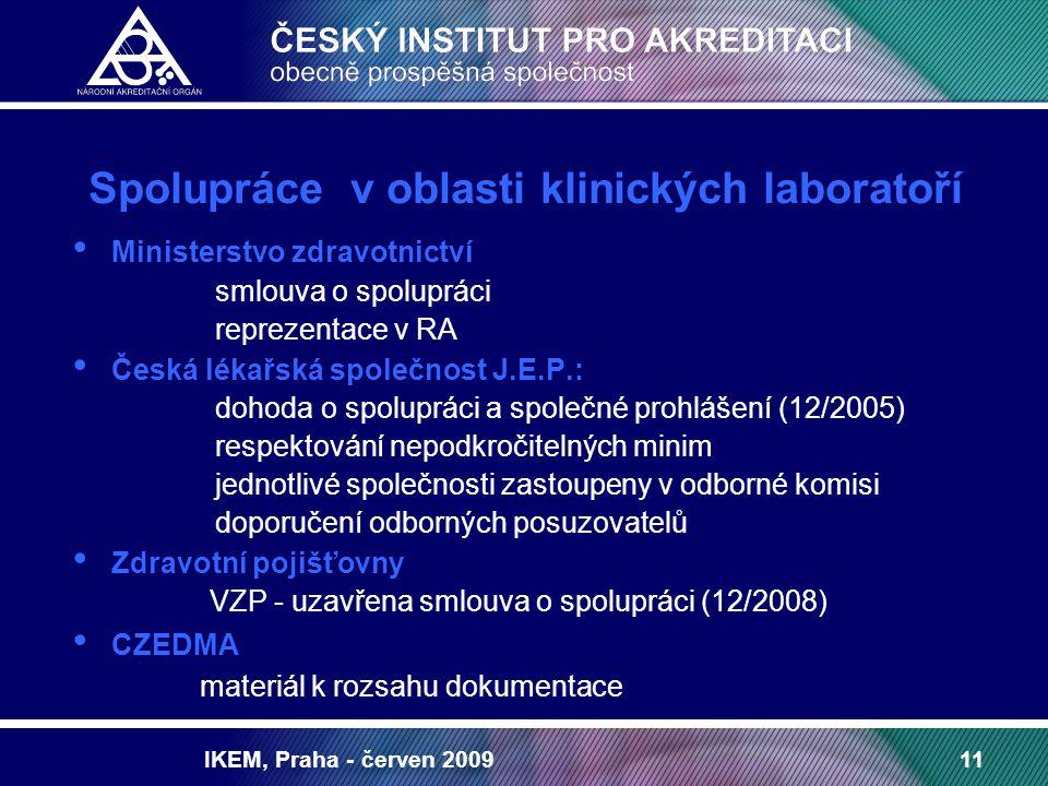 IKEM, Praha - červen 200911 Spolupráce v oblasti klinických laboratoří Ministerstvo zdravotnictví smlouva o spolupráci reprezentace v RA Česká lékařsk