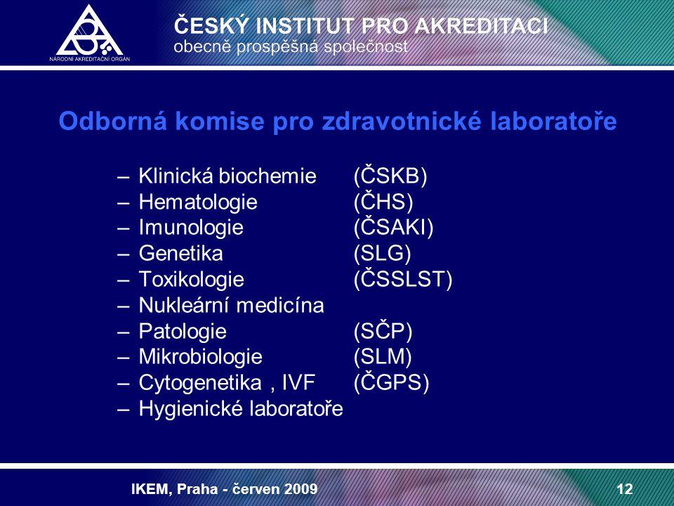 IKEM, Praha - červen 200912 Odborná komise pro zdravotnické laboratoře –Klinická biochemie(ČSKB) –Hematologie (ČHS) –Imunologie (ČSAKI) –Genetika(SLG)