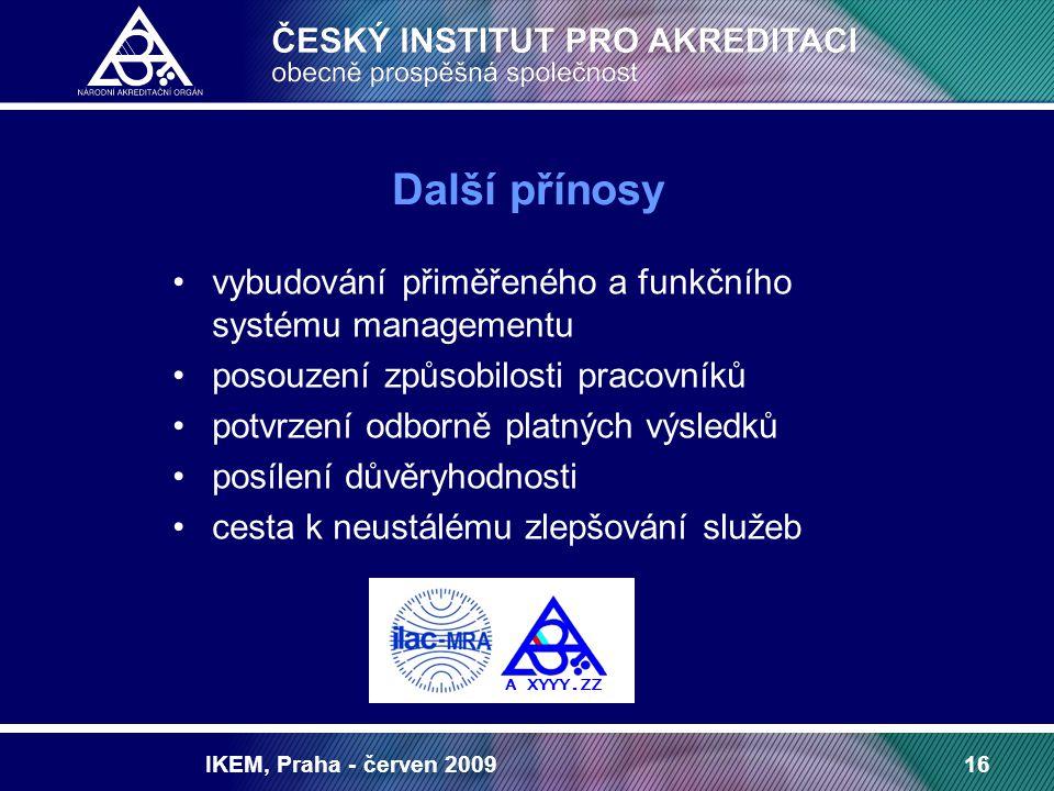 IKEM, Praha - červen 200916 Další přínosy vybudování přiměřeného a funkčního systému managementu posouzení způsobilosti pracovníků potvrzení odborně platných výsledků posílení důvěryhodnosti cesta k neustálému zlepšování služeb A XYYY.ZZ