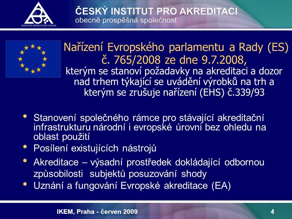 IKEM, Praha - červen 20094 Stanovení společného rámce pro stávající akreditační infrastrukturu národní i evropské úrovni bez ohledu na oblast použití