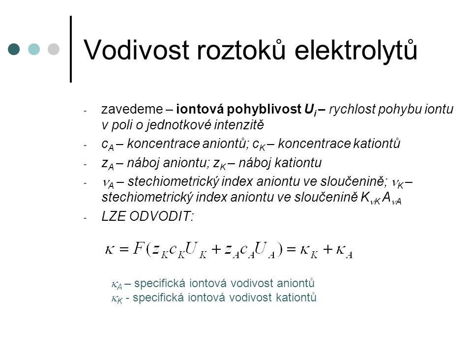 Vodivost roztoků elektrolytů - zavedeme – iontová pohyblivost U i – rychlost pohybu iontu v poli o jednotkové intenzitě - c A – koncentrace aniontů; c K – koncentrace kationtů - z A – náboj aniontu; z K – náboj kationtu - A – stechiometrický index aniontu ve sloučenině; K – stechiometrický index aniontu ve sloučenině K K A A - LZE ODVODIT:  A – specifická iontová vodivost aniontů  K - specifická iontová vodivost kationtů