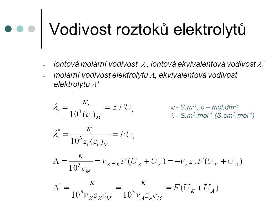 Vodivost roztoků elektrolytů - iontová molární vodivost  i, iontová ekvivalentová vodivost i * - molární vodivost elektrolytu , ekvivalentová vodivost elektrolytu  *  - S.m -1, c – mol.dm -3 - S.m 2.mol -1 (S.cm 2.mol -1 )